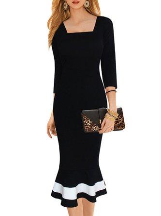 Square neck Black Mermaid Daytime Half Sleeve Cocktail Paneled  Midi Dress