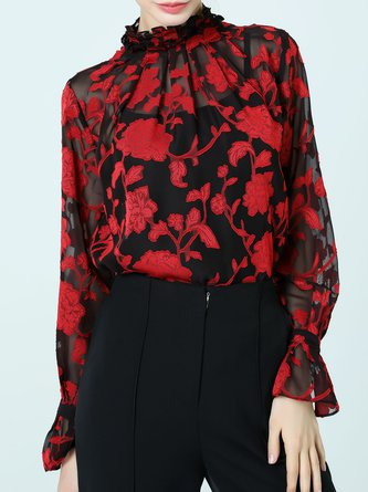 Bell Sleeve Floral Printed Ruffled See-through Look Blouse