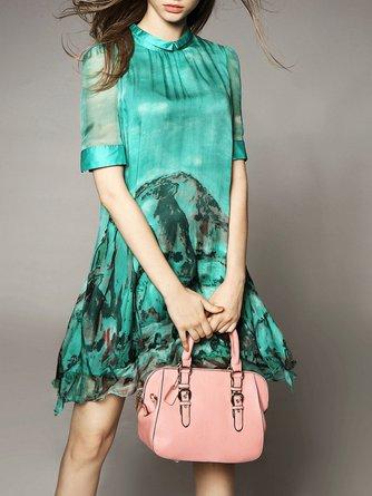 Green A-line Short Sleeve Silk Turtleneck Mini Dress