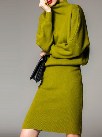 Green Solid Elegant Turtleneck Two Piece Outfits