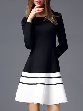 Black-white A-line Elegant Long Sleeve Color-block  Midi Dress