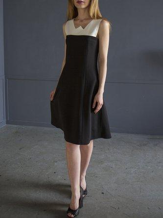 Black Midi Dress Daytime Sleeveless Casual Dress
