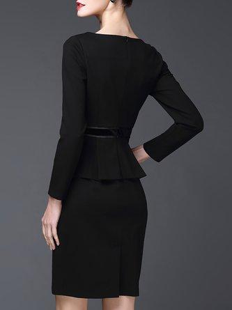 Black Sheath Work Cotton Statement Midi Dress