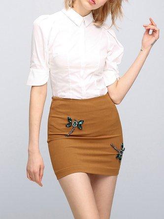 Short Sleeve V Neck Cotton-blend Casual Blouse