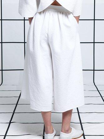 White Plain Casual Wide Leg Pants