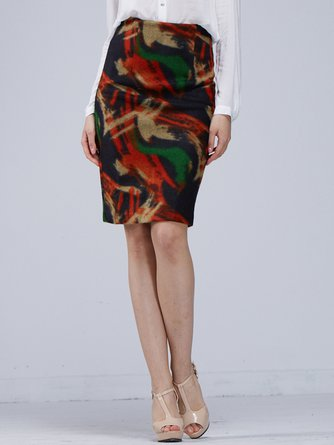 Multicolor Casual Printed Abstract Midi Skirt