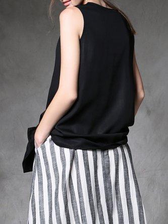 Black Silk V Neck Asymmetric Sleeveless Tunic