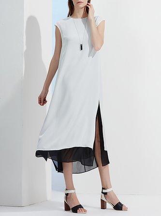 White Casual Slit Midi Dress