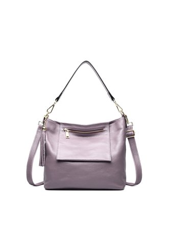 Purple Casual Small Cowhide Leather Satchel