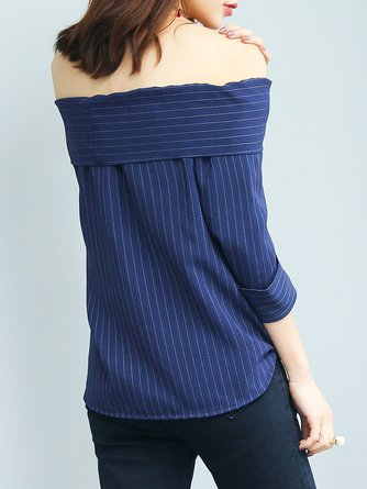 Blue 3/4 Sleeve Off Shoulder Blouse