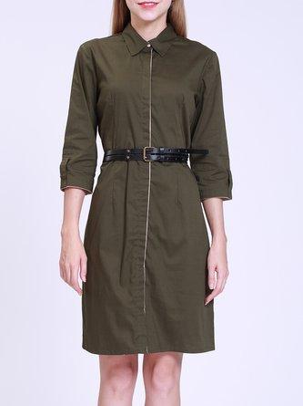 Casual Shirt Collar Cotton Short Sleeve Green Mini Dress
