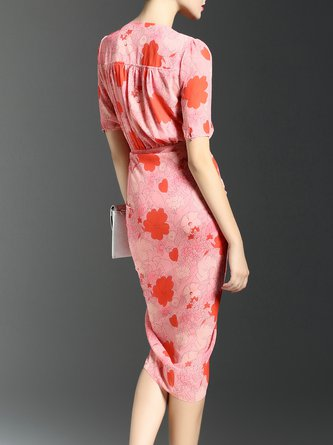 Pink Bodycon Daytime Short Sleeve Vintage Floral Midi Dress