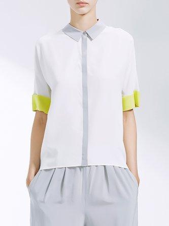 White Simple Color-block Blouse