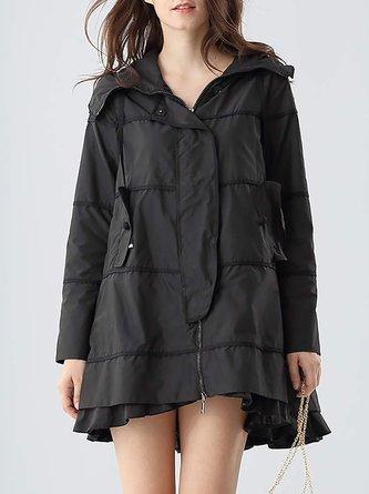 Black Hoodie Polyester Simple A-line Plain Coat