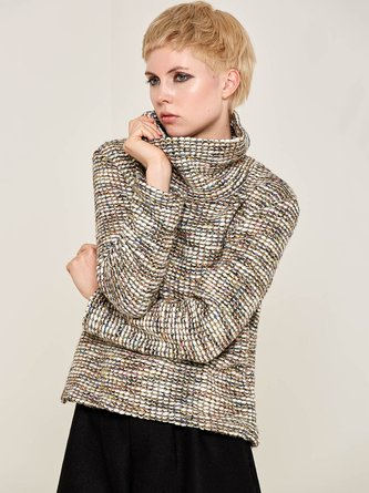 Multicolor Wool Woven Long Sleeve Turtleneck Sweater