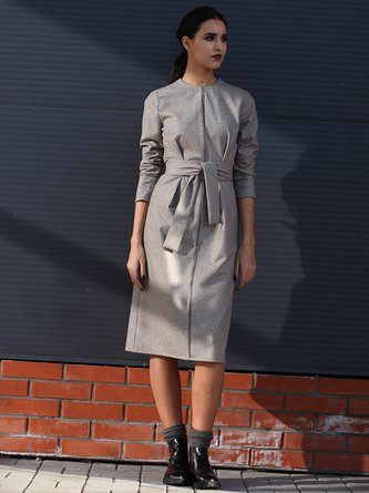 Beige Piping Long Sleeve H-line Wool Blend Midi Dress with Belt