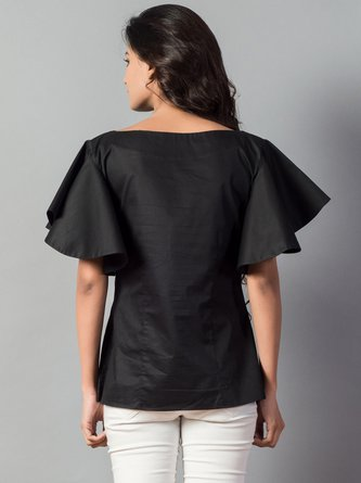 Black Solid Bateau/boat Neck Casual Ruffled Frill Sleeve Tops
