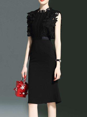 Stand Collar Black Sleeveless Silk Paneled Plain Sheath Midi Dress