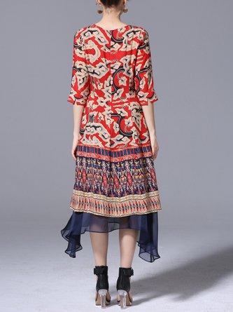 Crew Neck Red Midi Dresses Asymmetrical Daytime 3/4 Sleeve Casual Paneled Dresses