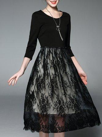 Black Paneled Crocheted Elegant  Midi Dress