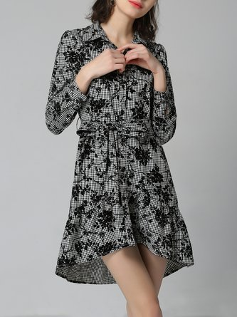 Multicolor Shirt Collar Floral High Low Casual Midi Dress