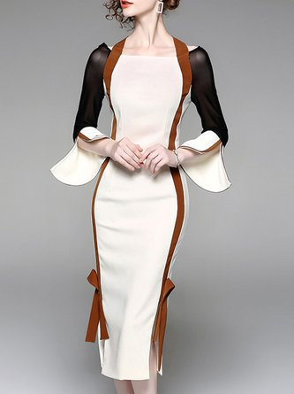 White Midi Dress Bodycon Daytime Vintage Slit Dress