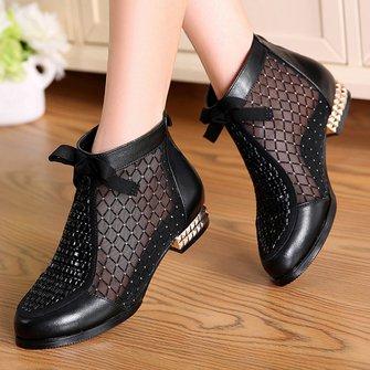 Ladies Black Chunky Heel Bowknot Sexy Mesh Boots