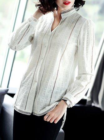 White V Neck Asymmetric Crochet-trimmed Slit Solid Casual Blouse