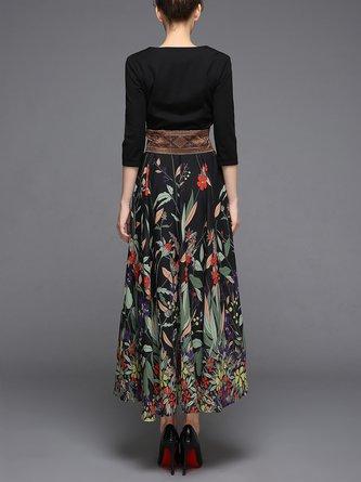 Black Printed Evening A-line Leaf Paneled Elegant V neck Party Maxi Dress