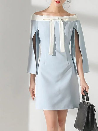 Blue Going out Vintage 3/4 Sleeve Cocktail Statement Mini Dress