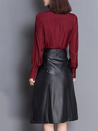 Chiffon Long Sleeve Casual Stand Collar Two Piece Outfits