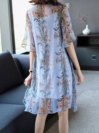 Blue Shift Daily Half Sleeve Paneled  Midi Dress