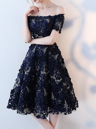 Off Shoulder  Midi Dress Prom Short Sleeve Bow Dress