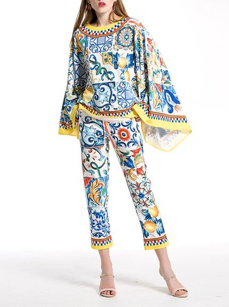 Blue Casual Floral Printed Two Piece Outfits