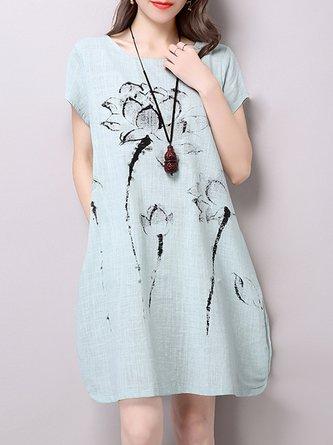 Linen Dress Daytime Short Sleeve Printed Dress