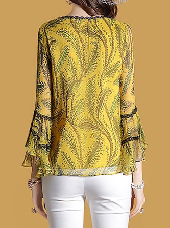 Yellow Crochet-trimmed Printed Blouse