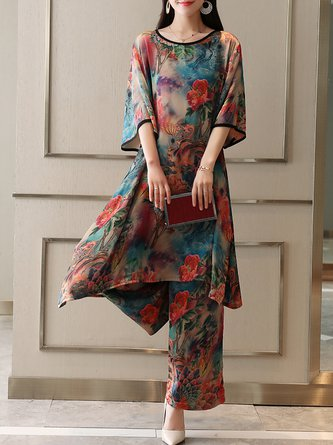 Printed Casual Binding Summer Two Piece Outfit