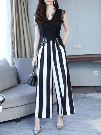 Daytime Black Casual Lace Striped Printed Jumpsuit