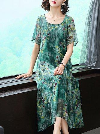 Green Midi Dress Shift Daytime Printed Floral Dress