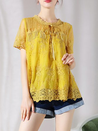 Yellow Fringed Short Sleeve Crew Neck Solid Top