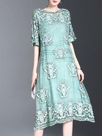 Bateau/boat neck Green Midi Dress Asymmetrical Vintage Asymmetric Dress