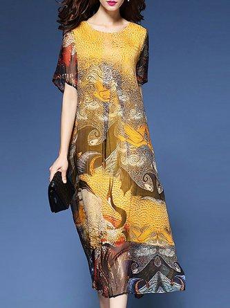 Yellow Midi Dress Daily Short Sleeve Printed Dress