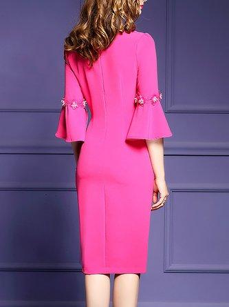 Bodycon Bell Sleeve Vintage Asymmetric Statement Midi Dress