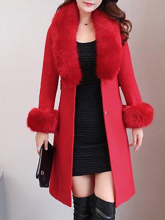 Shift Long Sleeve Shawl Collar Casual Coat