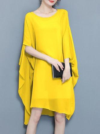 Midi Dress Shift Daytime Batwing Solid Dress