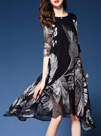 Black Midi Dress Asymmetrical Daytime Half Sleeve Holiday Dress