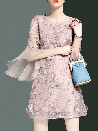 Bell Sleeve Sweet Paneled Statement Mini Dress