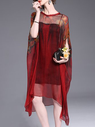 Burgundy Midi Dress Asymmetrical Beach Batwing Vintage Dress