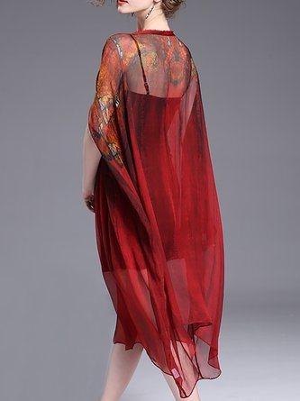 Burgundy Midi Dress Asymmetrical Daily Elegant Asymmetric Dress