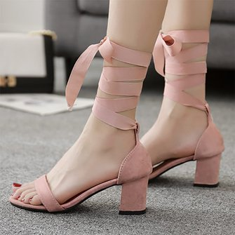 Strap Bowknot Suede Open Toe Chunky Sandals